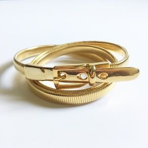 VTG Gold Metal Stretch Snake Belt Minimalist